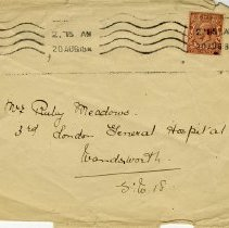 Image of Envelope addressed to Mrs. Ruby Meadows, Aug. 20, 1918