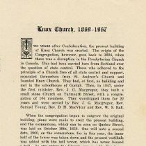 Image of Historical Sketch of Knox Church, 1869-1967