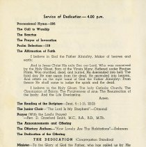 Image of Service of Dedication Order of Service