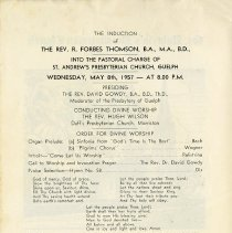 Image of Order of Service for the Induction of the Rev. R.F. Thomson