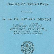 Image of Plaque  Edward Johnson front