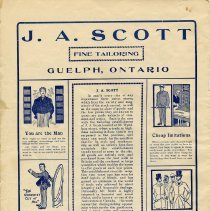 Image of Advertisement, J.A. Scott, Fine Tailoring, Guelph