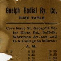 Image of Guelph Radial Railway Timetable
