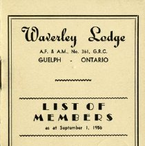 Image of Waverly Lodge List of Members, 1956