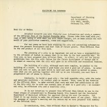 Image of Letter from R.P. Hall, Director, Dept. of Planning, 1969