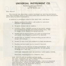 Image of .25 - Letter to Doctor from Universal Instrument Co.