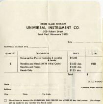 Image of .26 - Order Form / Envelope, Universal Instrument Co.