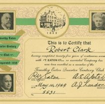 Image of Certificate to Robert Clark From T. Eaton Co.