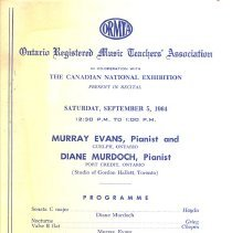 Image of Murran Evans recital Sept 1964