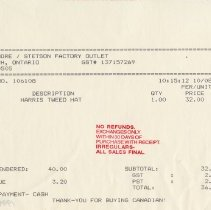Image of Invoice for Harris Tweed Hat, 1996
