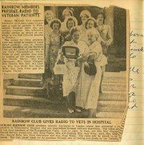 "Image of Newspaper Article,""Rainbow Members Present Radio to Veteran Patients"""