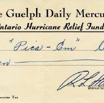 """Image of Receipt to the """"Pica-Em"""" Club, 1954"""