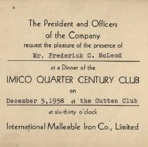 Image of Invitation to IMICO Quarter of a Century Club, 1958