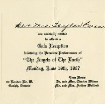 Image of Invitation to Gala Reception, June 19th, 1967