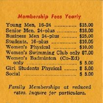 Image of Annual Membership Fees, back of schedule