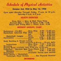 Image of Schedule of Physical Activities, side one