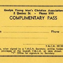 Image of Complimentary Pass to Guelph's Y.M.C.A.