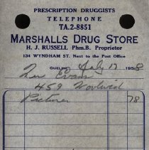Image of Invoice, Marshall's Drug Store, 1958