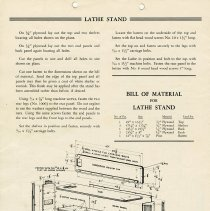 Image of Advertisement for Lathe Stand, Back Page
