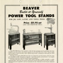 Image of Advertisement Pamphlet for Callander Foundry Power Tool Stands