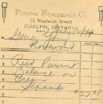 Image of Pioneer Equipment Invoice