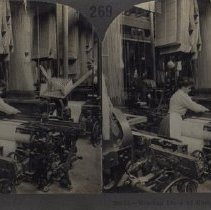 Image of Stereograph of Weaving Linen