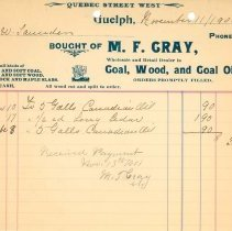 Image of M.F. Cray Invoice