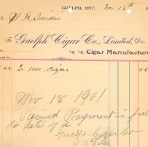 Image of Guelph Cigar Co. Invoice