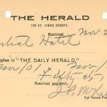 Image of Guelph Herald Receipt, 1901