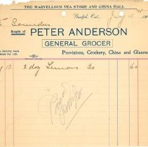 Image of Peter Anderson Invoice