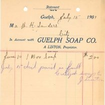 Image of Guelph Soap Co. Invoice