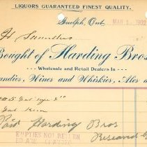 Image of Harding Bros. Invoice