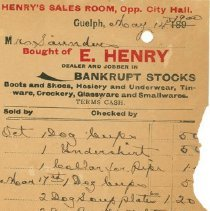 Image of E. Henry Invoice