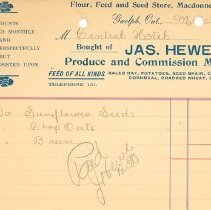 Image of James Hewer Invoice