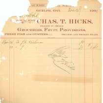 Image of Chas. T. Hicks Invoice