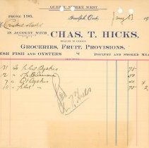 Image of Chas T. Hicks Invoice
