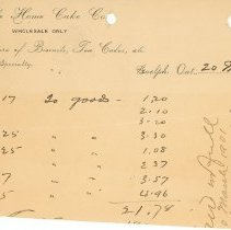 Image of The Home Cake Co. Invoice