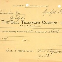 Image of Bell Telephone Invoice