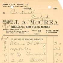 Image of J.A. McCrea Invoice