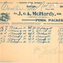 Image of J.A. McHardy Invoice