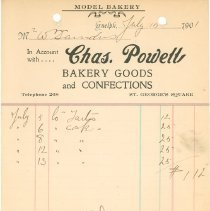 Image of Model Bakery Invoice