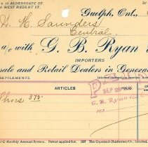 Image of G.B. Ryan Invoice