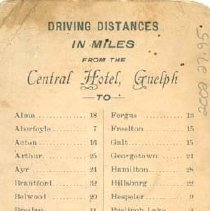 Image of Central Hotel Ad - Back