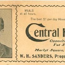 Image of Central Hotel Ad - Front