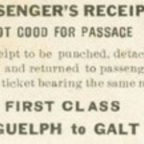 Image of 1st Class Ticket to Galt-Front