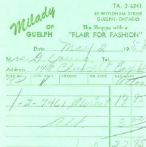 Image of Milady of Guelph Receipt
