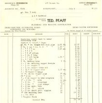 Image of Ted Pfaff Plumbing Invoice