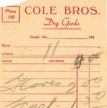 Image of Cole Bros. Invoice