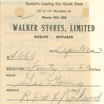 Image of Walker Stores Invoice