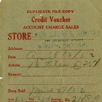 Image of Credit Voucher from Walker Stores Limted, 1952
